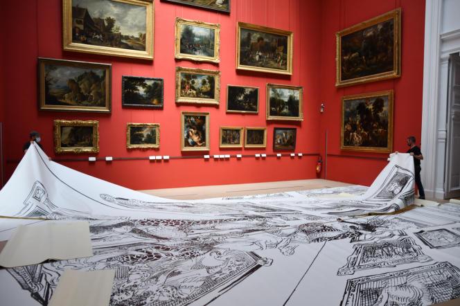 Installation de l'exposition «Open Museum» de François Boucq, au Palais des beaux-arts de Lille.