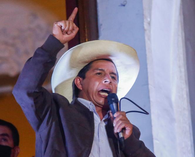 Pedro Castillo, el candidato presidencial de izquierda, el 15 de junio en Lima.