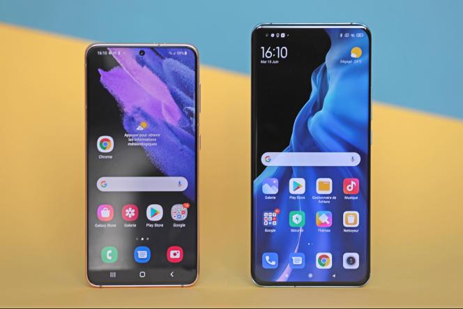 Le Xiaomi est presque un centimètre et demi plus long que le Samsung.