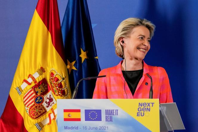 La présidente de la Commission européenne Ursula von der Leyen, à Madrid, le 16 juin 2021.
