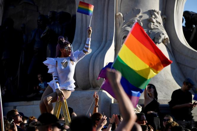 Protesters in Budapest, Hungary on June 21, 2021 protest against Hungarian Prime Minister Viktor Orban and the latest LGBTQIA + law.
