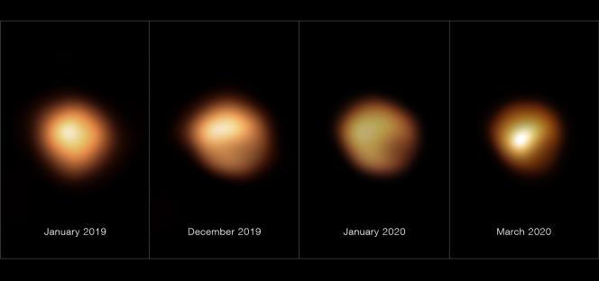 Ces images, prises avec l'instrument Sphere du Very Large Telescope de l'ESO, montrent la surface de l'étoile Bételgeuse pendant la diminution sans précédent de son intensité lumineuse, qui s'est produite fin 2019 et début 2020. L'image à l'extrême gauche, prise en janvier 2019, montre sa luminosité normale, tandis que les autres images ont toutes été prises lorsque sa luminosité avait sensiblement diminué, en particulier dans sa région sud. La luminosité est revenue à la normale en avril 2020.