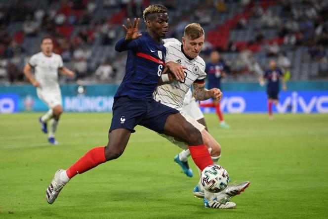Paul Pogba, lors du match face à l'Allemagne, à l'Allianz Arena, le 15 juin à Munich.