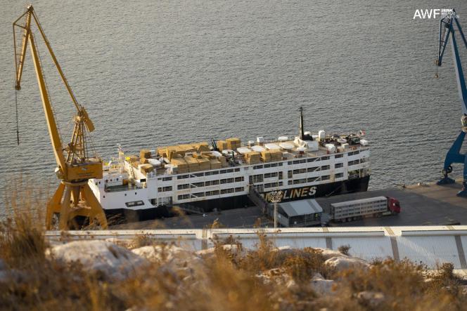 Le «Sarah M», dans un port d'Espagne, en 2020. Sur le port, les camions qui amènent le bétail pour le chargement. Cet ancien cargo réfrigéré a 42 ans, il bat pavillon du Panama. Lorsqu'il a été transformé, des ponts supérieurs ont été ajoutés. Sur le sundeck, le foin est stocké.