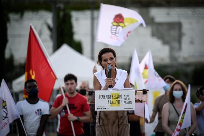 La candidate socialiste aux élections régionales en Auvergne-Rhône-Alpes, NajatVallaud-Belkacem, en meeting de campagneà Lyon, le 14 juin.
