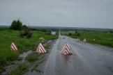 Un checkpoint ukrainien sur une route menant aux territoires non contrôlées par Kiev, le 4 juin 2021.