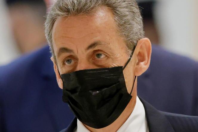 L'ancien chef de l'Etat Nicolas Sarkozy arrive au tribunal de Paris pour son interrogatoire dans le procès Bygmalion, le 15 juin.