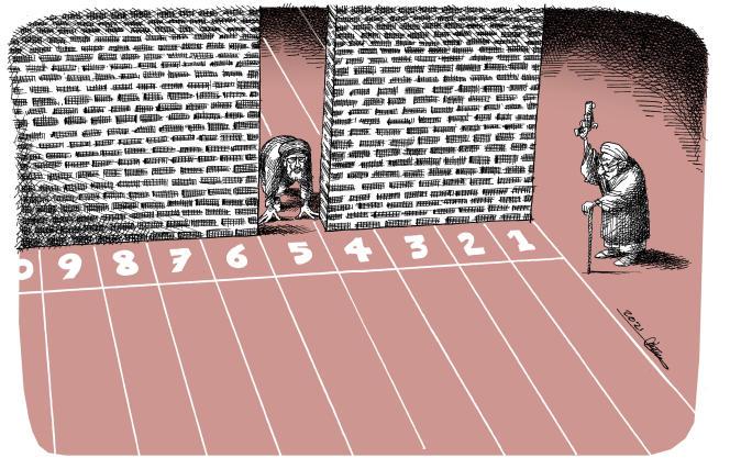 Dessin paru en « une » du « Monde » le 16 juin signé par le dessinateur iranien Mana Neyestani.