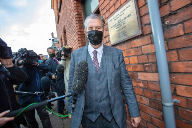 Edwin Boots, leader of the Northern Irish Democratic Unionist Party (TUP), leaves party headquarters in Belfast on June 17, 2021.
