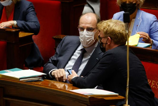Jean Castex et Marc Fesneau à l'Assemblée nationale à Paris, le 8 juin 2021.