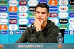 Cristiano Ronaldo, le 14 juin, lors de laconférence de presse à Budapest, à la veille du match entre le Portugal et la Hongrie.