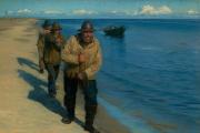 «Trois pêcheurs halant un bateau» (1885), de Peder Severin Kroyer, huile sur toile.