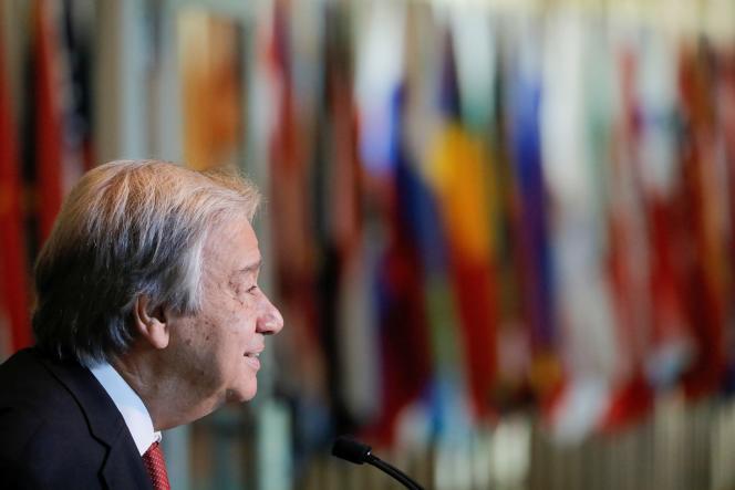 Le secrétaire général des Nations unies s'exprime devant les médias, vendredi 18 juin, à New York (Etats-Unis).