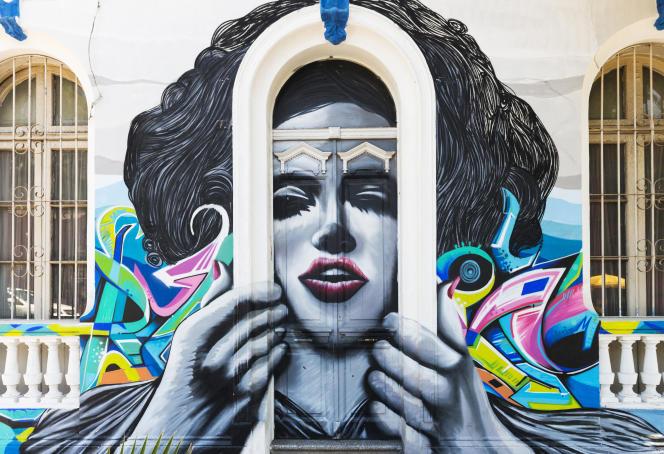 Fresque murale du quartier de Bellavista, à Santiago (Chili).