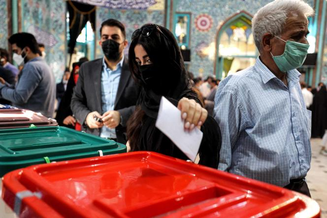 During the June 18, 2021 presidential election at a polling station in the Iranian capital, Tehran.