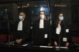 Les avocats d'AstraZeneca, lors de l'audience contre la Commission européenne, à Bruxelles, le 26 mai 2021.