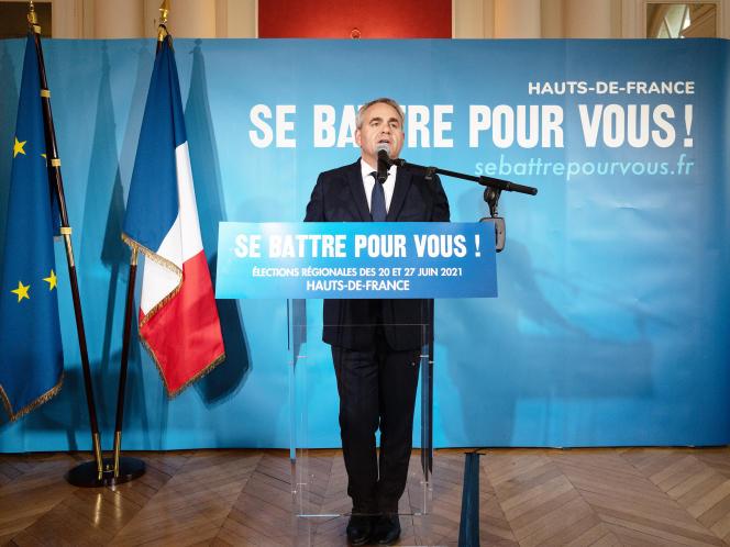 Allocution de Xavier Bertrand devant la presse à Saint-Quentin (Hauts-de-France), le 20 juin 2021.