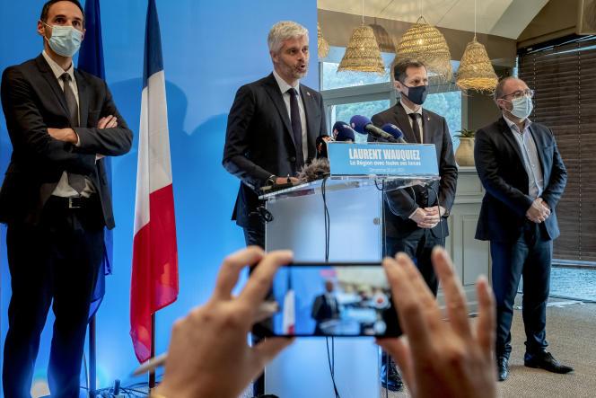 Discours de Laurent Wauquiez, candidat et président sortant Les Républicains de la région Auvergne Rhône-Alpes après les résultats du premier tour, à Lyon, le 20 juin.
