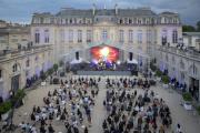 Concert de musique électronique dans le cour de l'Elysée à l'occasion de la Fête de la musique, à Paris, lundi 21 juin 2021.