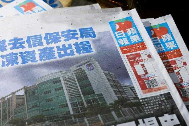 Des exemplaires d'«Apple Daily» dans un kiosque de Hongkong, le 22juin2021.