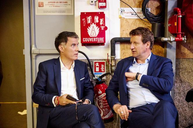 Olivier Faure (PS) et Yannick Jadot (EELV), le 20 juin 2021, à France Télévisions.