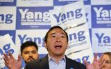 NEW YORK, NEW YORK - JUNE 21: New York City mayoral candidate Andrew Yang speaks during a press conference with Assembly Member Simcha Eichenstein on June 21, 2021 in the Bensonhurst neighborhood of Brooklyn borough in New York City. At his second event of the day on the eve of New York City Primary Election Day, Yang held a press conference before canvassing and making a last pitch to voters with Eichenstein and the New Era Dems in Brooklyn. Michael M. Santiago/Getty Images/AFP == FOR NEWSPAPERS, INTERNET, TELCOS & TELEVISION USE ONLY ==
