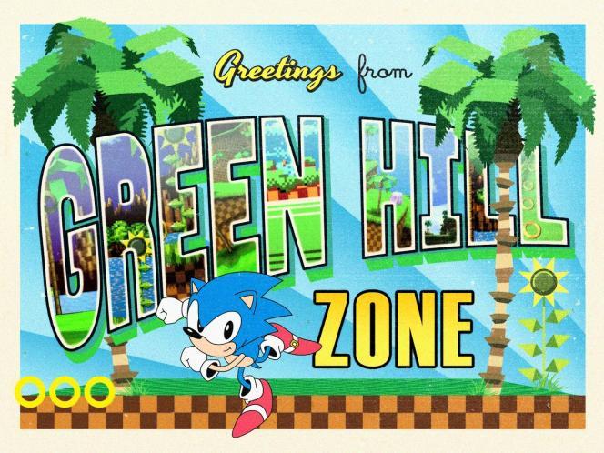 Green Hill Zone,dont les palmiers vert fluo et le sol à damier marron est bien connu des joueurs des années1990, est le nom du premier niveau du jeu vidéo «Sonic the Hedgehog».