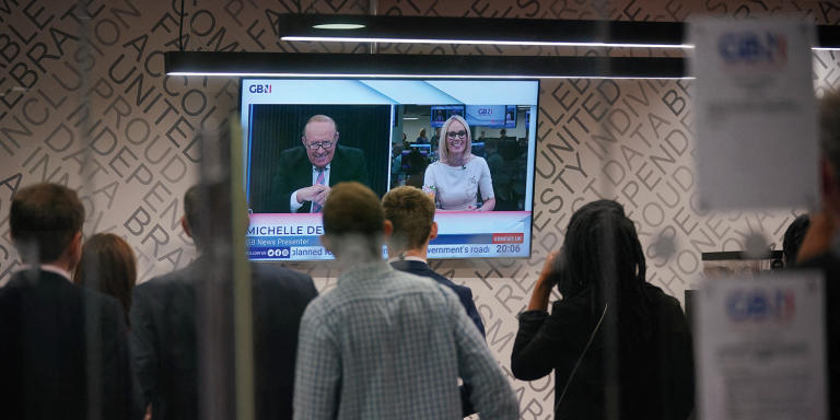 Staff in the green room watching a television screen showing presenters Andrew Neil and Michelle Dewberry broadcast from a studio, during the launch event for new TV channel GB News at The Point in Paddington, London. Picture date: Sunday June 13, 2021. ... GB News ... 13-06-2021 ... London ... UK ... Photo credit should read: Yui Mok/PA Wire. Unique Reference No. 60345767 ... See PA story MEDIA GBNews. Photo credit should read: Yui Mok/PA Wire  Photographer Media Paparazzi Journaliste Media Photographe Presse Journalist    BRPAPhotos20210613_392 London