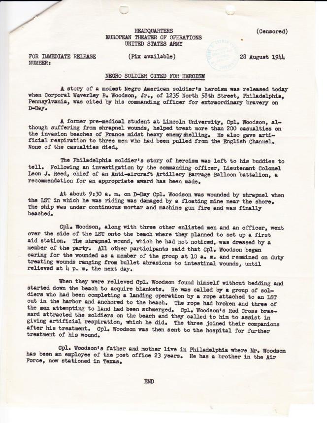 Un rapport de l'armée décrivant les actions de Waverly Woodson à Omaha Beach.