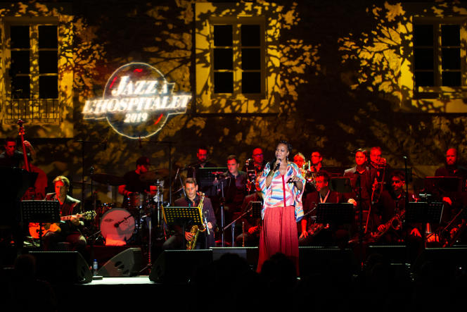 Lisa Simone, dans le cadre du festival Jazz à l'Hospitalet, dans le Langudoc, en juillet 2019.
