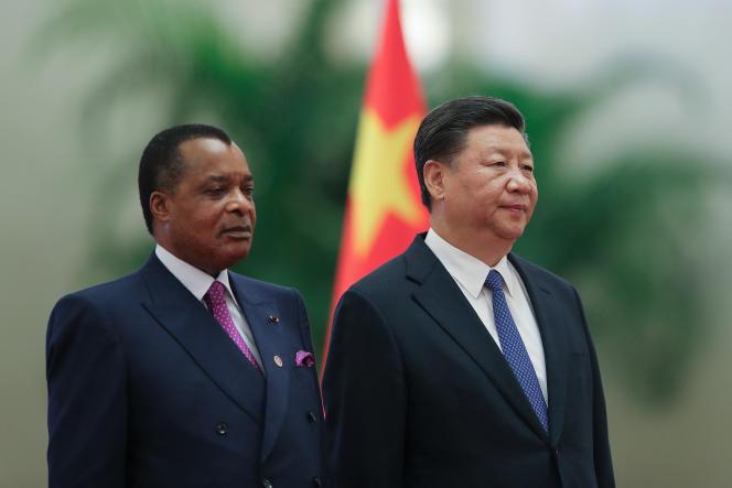 Le président du Congo Denis Sassou Nguesso (à gauche) et son homologuechinois Xi Jinpingà Pékin, le 5 septembre 2018,
