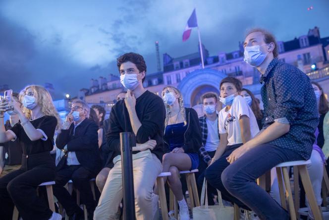 Concert de musique électronique dans la cour de l'Elysée à l'occasion de la Fête de la musique, à Paris, le 21 juin 2021.