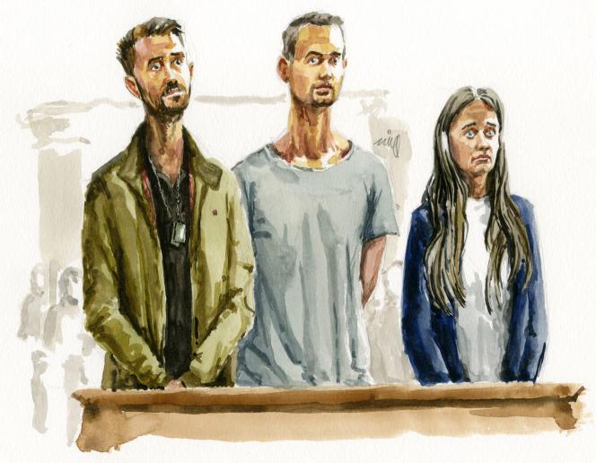 Croquis d'audience de Kevin, Dylan et Karline Polette, lors du procès de leur mère, Valérie Bacot, devant les assises de Saône-et-Loire, le 22 juin 2021.
