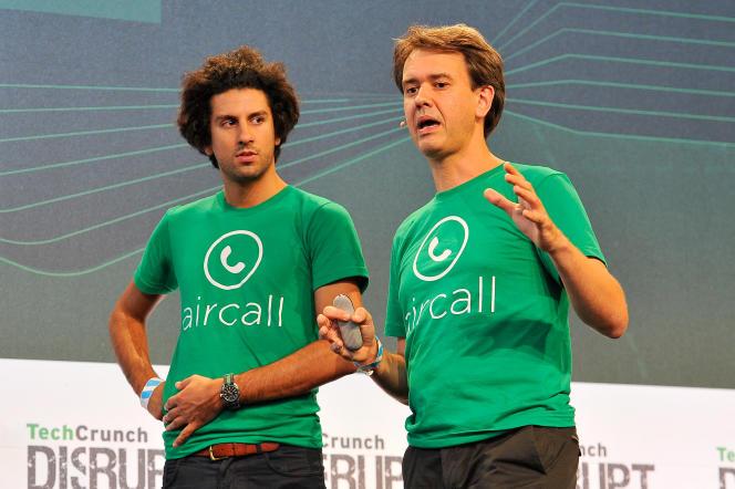 Jonathan Anguelov, à gauche sur la photo, cofondateur d'Aircall, lors d'une réunion de la start-up, le 21 septembre 2015, à San Francisco.