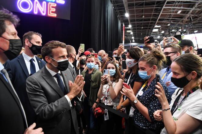Emmanuel Macron lors de l'événement VivaTech Start-up and Tech, à la porte de Versailles, à Paris, le 16 juin 2021.
