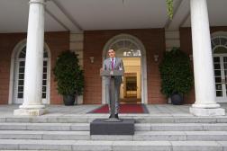 Le premier ministre espagnol, Pedro Sanchez, fait une déclaration devant le palais de la Moncloa, à Madrid, le mardi 22 juin 2021.