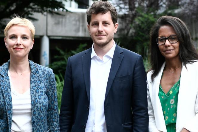 Clémentine Autain (LFI), Julien Bayou (Europe Ecologie-Les Verts) et Audrey Pulvar (PS), à Aubervilliers (Seine-Saint-Denis), le 21 juin.