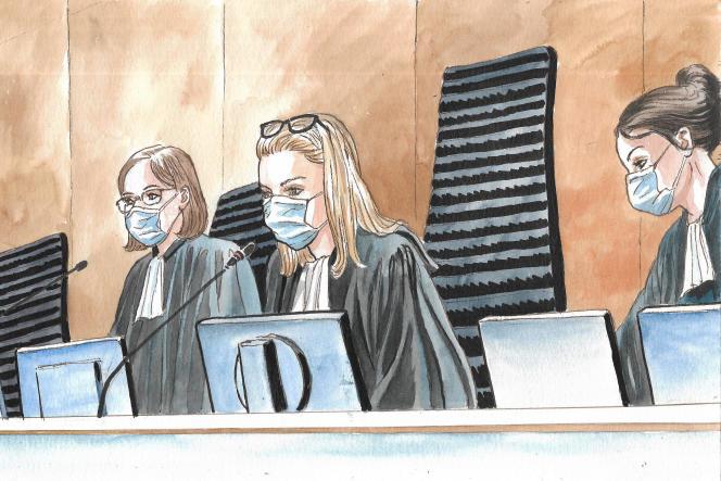 La présidente et les assesseurs du procès Bygmalion, au tribunal correctionnel de Paris, le 22 juin 2021.
