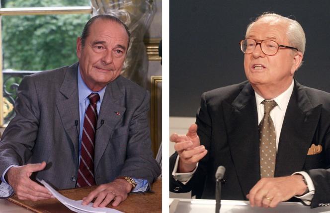 Les deux candidats qualifiés pour le second tour de la présidentielle de 2002, Jacques Chirac (RPR) et Jean-Marie LePen (FN).