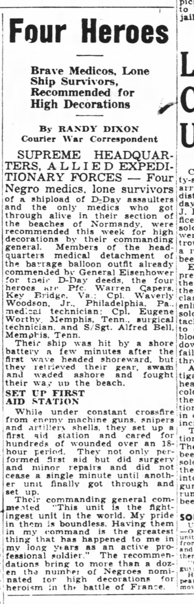 Un extrait du «Pittsburgh Courier» du 26 août 1944 racontant les exploits de quatre soldats noirs, dont Waverly Woodson.