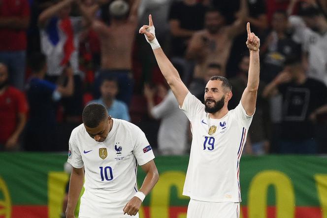 Karim Benzema marcou dois gols contra Portugal em 23 de junho de 2021.