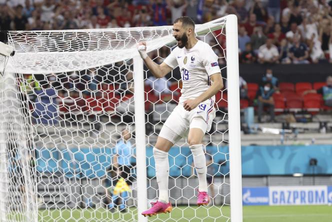 Karim Benzema, auteur de deux buts, mercredi 23 juin, contre le Portugal, au stade Ferenc-Puskas de Budapest.