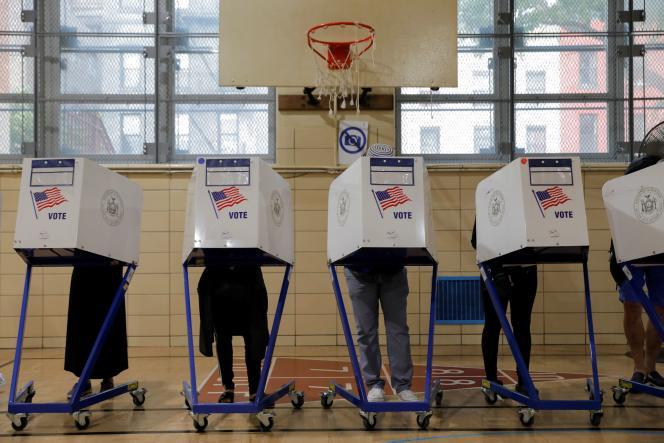 A primary polling station opened in Brooklyn, New York, on June 22, 2021.