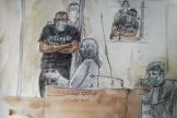 Croquis montrant Abdallah El-Hamahmy, accusé d'avoirattaqué à la machette un militaire au Louvre en 2017, à Paris, le 21 juin 2021.