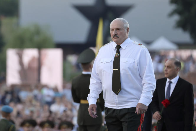 President Lukashenko in Bristol, West Belarus, near the Polish border, on June 21, 2021, to mark the 80th anniversary of the Soviet invasion of Germany.