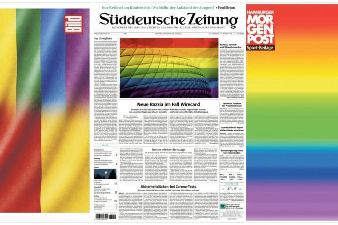 Les «unes» des quotidiens allemands«Bild», «Süddeutsche Zeitung» et «Morgenpost» le 23 juin 2021.
