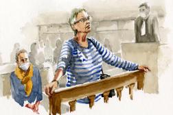 La mère de Valérie Bacot, Joëlle Aubagne, le 23 juin 2021 à la cour d'assisesde Saône-et-Loire.
