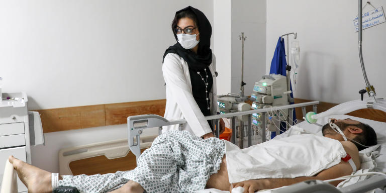 Doctor Shoranghaize shor, aged 33, Adult Intensivist, poses for a photograph at the French Medical Institute for Mothers and Children (FMIC) hospital in Kabul, Afghanistan on  June 2021. Hedayatullah/ Le Monde