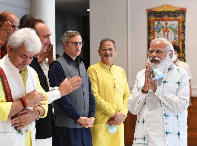 Le premier ministre indien, Narendra Modi, lors d'une rencontre avec des responsables politiques du Cachemire, le 24 juin 2021 (photo transmise par les services du premier ministre).