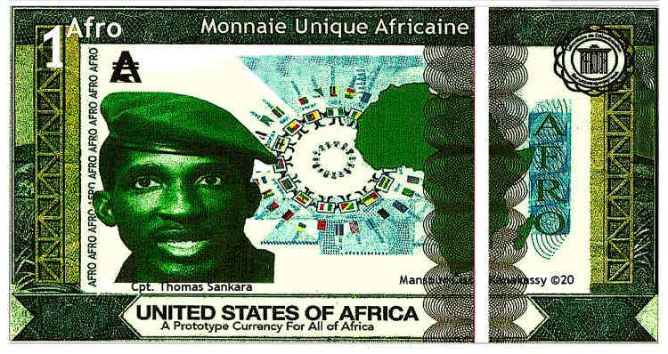 Un billet d'un «afro», à l'effigie de Thomas Sankara, imaginé par Mansour Ciss, 2020-2021.